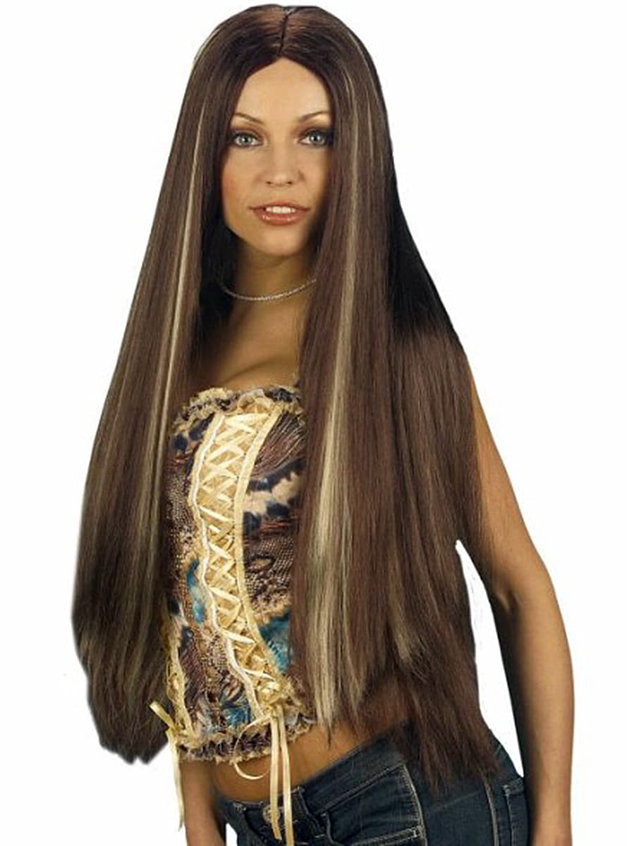 Extra Long Chestnut Wig With Highlights