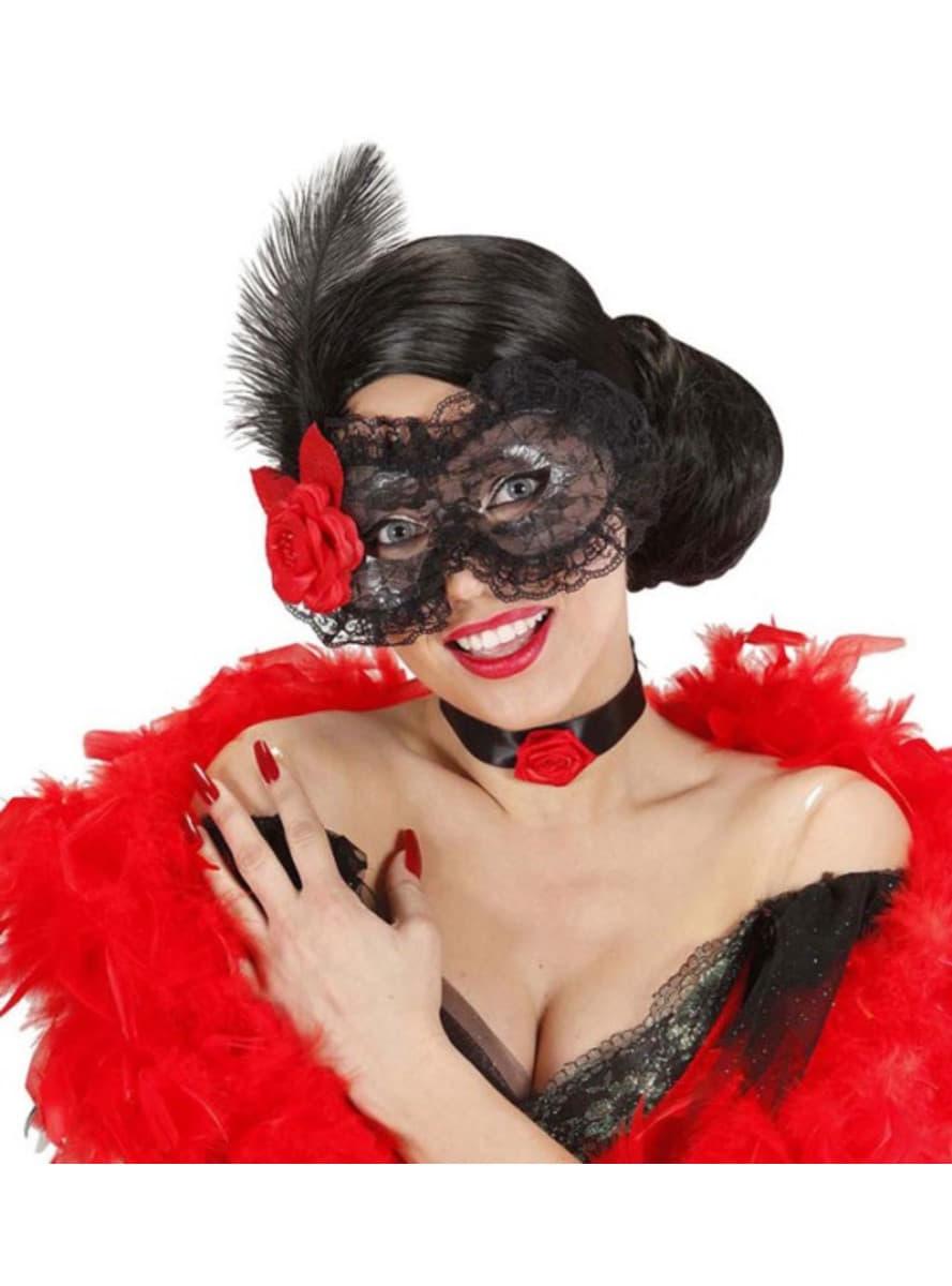 Masque dentelle avec fleurs et plumes acheter en ligne for Acheter fleurs en ligne
